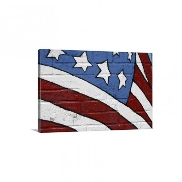 USA Flag Graffiti Wall Art - Canvas - Gallery Wrap