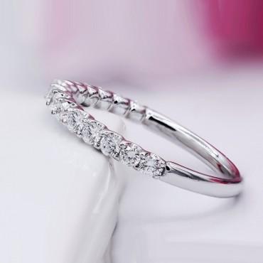 U Prong Half Eternity Diamond Wedding Band