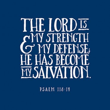 Psalm 118 14 Scripture Art In White And Navy