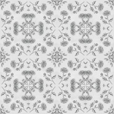 Mosaic Chrysanthemums Black And White