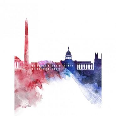 Washington DC Watercolor Cityscape