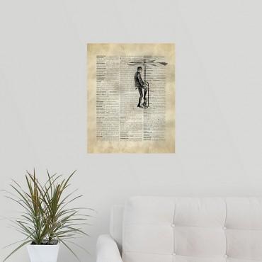 Vintage Dictionary Art Man Flying