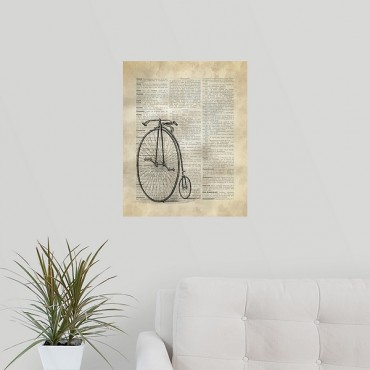 Vintage Dictionary Art Antique Bike