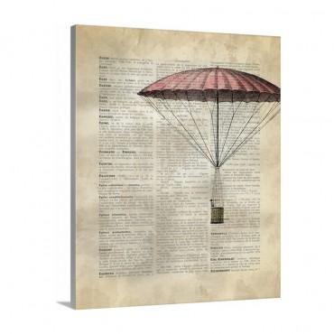 Vintage Dictionary Art Hot Air Balloon 1