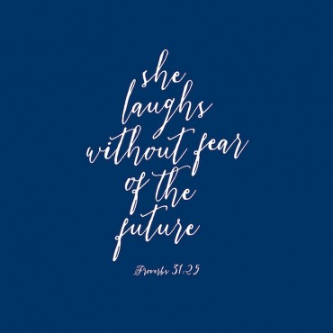 Proverbs 31 25 Scripture Art In White And Navy