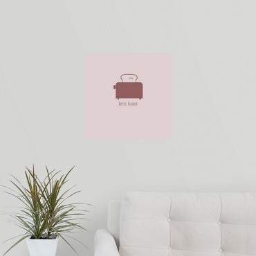Lets Toast Minimalist Retro Kitchen Art