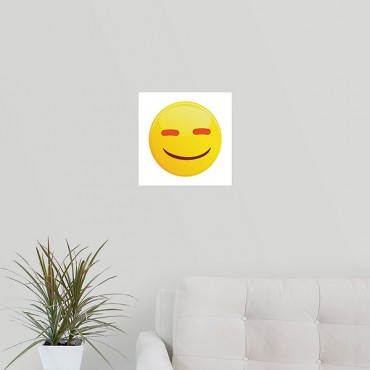Content Emoji With Orange Eyes