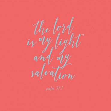 Psalm 27 1 Scripture Art In Teal And Coral