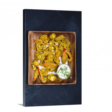 Vegetable Pakora With Raita In A Wooden Bowl Wall Art - Canvas - Gallery Wrap