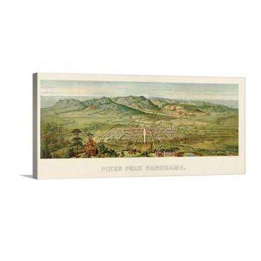 Vintage Birds Eye View Map Of Colorado Springs And Pikes Peak Colorado Wall Art - Canvas - Gallery Wrap