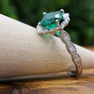 Vintage Cushion Emerald Diamond Halo Engagement Ring