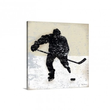 Vintage Hockey Player Wall Art - Canvas - Gallery Wrap