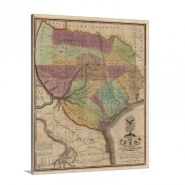 Vintage Map Of Texas With Parts Of The Adjoining States Wall Art - Canvas - Gallery Wrap