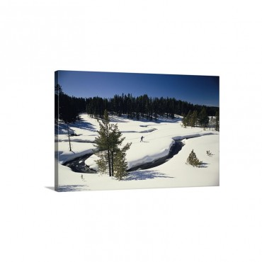 Virginia Creek With A Cross Country Skier Yellowstone National Park Montana Wall Art - Canvas - Gallery Wrap