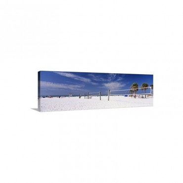 Volleyball Nets On The Beach Siesta Beach Siesta Key Florida Wall Art - Canvas - Gallery Wrap