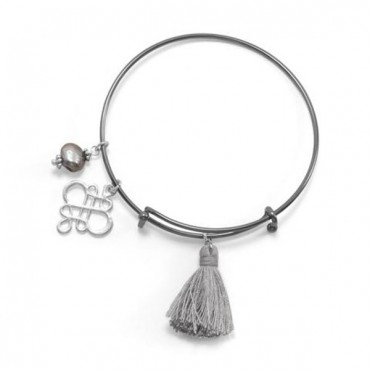 Black Tone Expandable Silver Tassel Charm Fashion Bangle Bracelet - 2 Pieces
