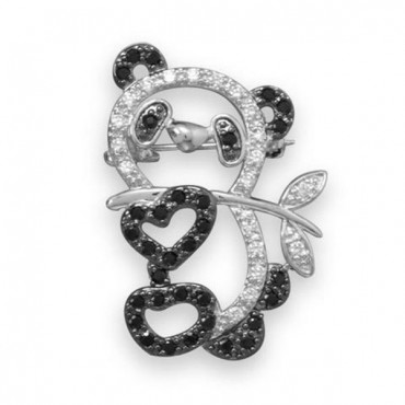 Rhodium Plated Brass CZ Panda Fashion Pin