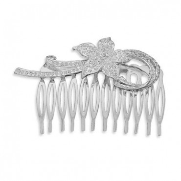 3 in. Silver Plated Fashion Hair Comb with Crystal Flower