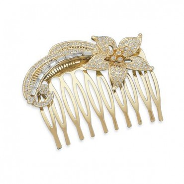 2 in. 14 Karat Gold Plated Fashion Hair Comb with Crystal