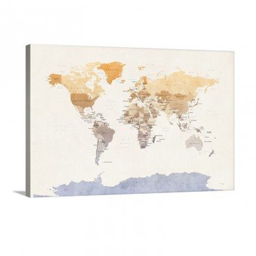 Watercolour Political Map Of The World Wall Art - Canvas - Gallery Wrap