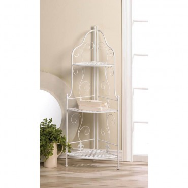 White Basket Weave Corner Rack