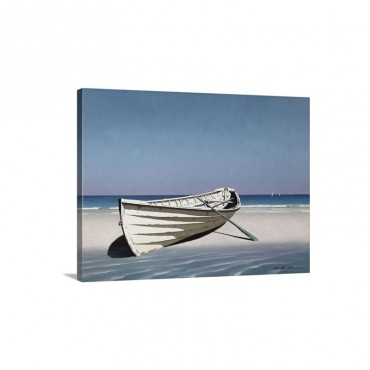 White Boat On Beach Wall Art - Canvas - Gallery Wrap