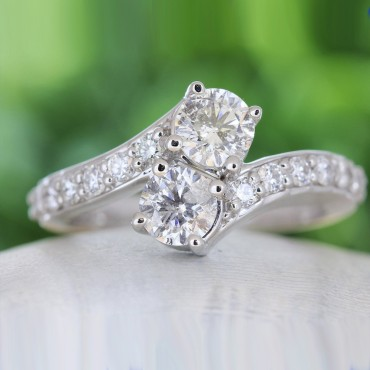 14K White Gold 1.50CTW Forever Us Two Stone Diamond Ring