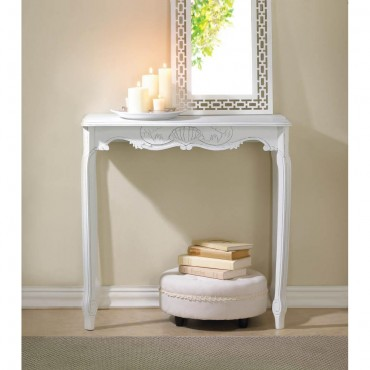 White Scallop Detail Hall Table