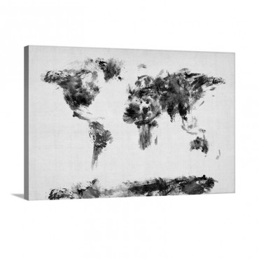 World Art Map Made Up Of Paint Wall Art - Canvas - Gallery Wrap
