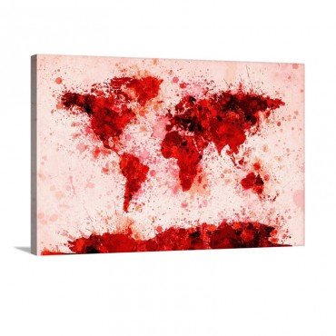 World Map Paint Splashes Red Wall Art - Canvas - Gallery Wrap