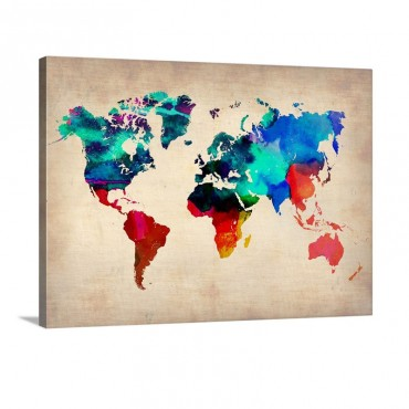 World Watercolor Map I Wall Art - Canvas - Gallery Wrap