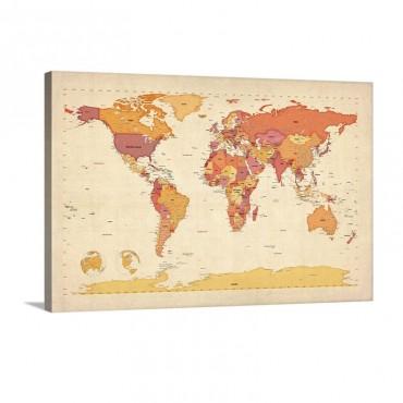 World Map Showing Latitude And Longitude Orange Wall Art - Canvas - Gallery Wrap