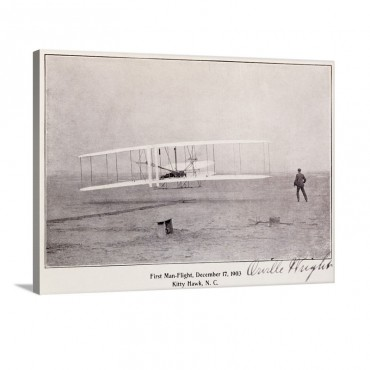 Wright Brothers Flight At Kitty Hawk Vintage Photograph Wall Art - Canvas - Gallery Wrap