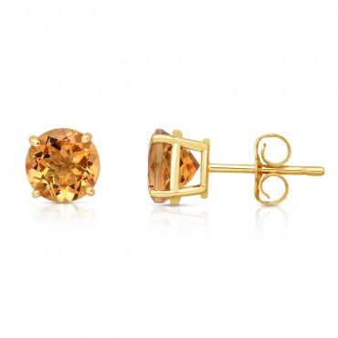 14K Yellow Gold Citrine Stud Earrings