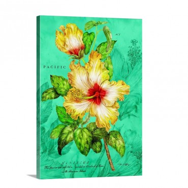 Yellow Hibiscus On Blue Wall Art - Canvas - Gallery Wrap