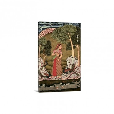 Young Princess Playing Veena 1770 Hyderabad School Hindu Miniature Painting Wall Art - Canvas - Gallery Wrap
