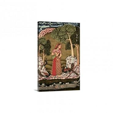 Young Princess Playing Veena 1770 Hyderabad School Hindu Miniature Painting Wall Art - Canvas - Gallery Wrap