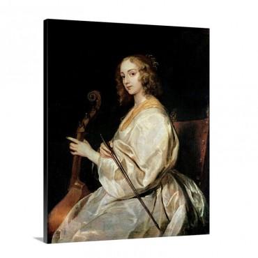 Young Woman Playing A Viola Da Gamba Wall Art - Canvas - Gallery Wrap