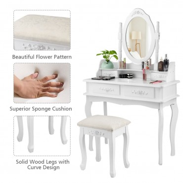 Mirror Jewelry Storage Makeup Dressing Table Vanity Set