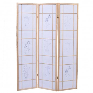 3 Panels Printing Flower Solid Wood Room Screen