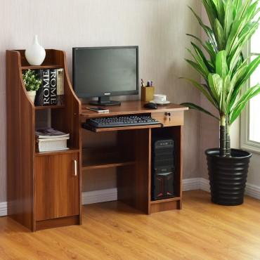 Home Computer Study Workstation Desk W / Bookshelf