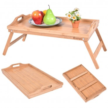 Portable Bamboo Breakfast Bed Tray W / Handle