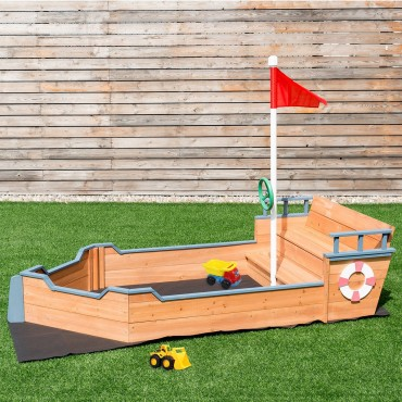 Kids Pirate Wooden Boat Sandbox With Bench And Flag