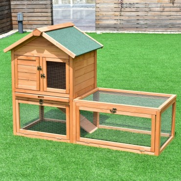 56 In. Pet Supplies Wooden House Rabbit Hutch Chicken Coops Cage