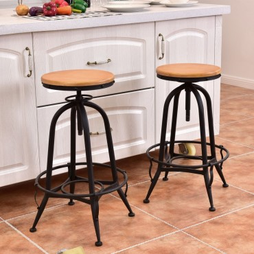Set Of 2 Adjustable Vintage Bar Stools