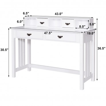 Home Office Writing Mission Computer Desk With 4-Drawer