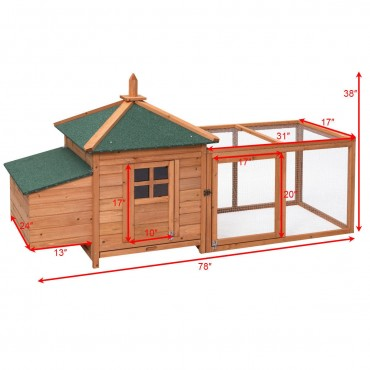 78 In. Outdoor Backyard Wooden Chicken Coop Rabbit Hutch