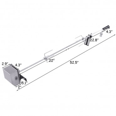 47 In. Square Spit Rod Universal Rotisserie Kit For Most Burner Grills