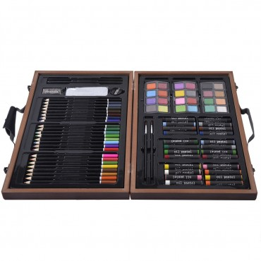 80 - Piece Art Set Drawing Accessories With Wood Case