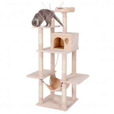 Multilevel Activity Tower Condo with Hammock Scratching Post